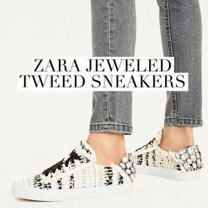 Zara Jeweled Tweed Sneakers